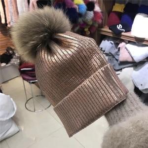 202011-shi winter warm fashoin Metallic color  coating Raccoon fur pompon knitting lady Skullies Beanies cap men women cool hat