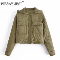 wesay jesi winter jacket women parkas hoode casual outwear woman clothes fashion long sleeve single breasted pockets chic coat