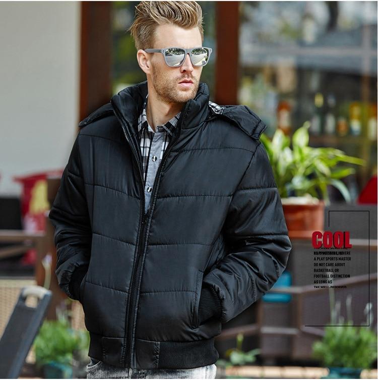 Мужская хлопковая стеганая куртка с капюшоном, Мужская ветровка с хлопковой подкладкой, мужские парки, мужская зимняя куртка с капюшоном, п...