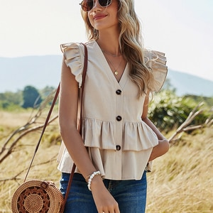 Summer Sleeveless Ruffle Button Blouses Women Casual Solid Pleated V-neck Shirts Cotton 2021 Fashion Office Ladies Tops