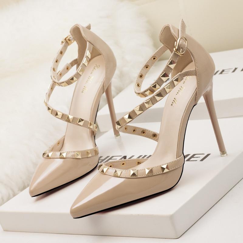 10CM pumps new women shoes summer sandals fashion women pumps rivet patent leather women high heels shoes party office shoes