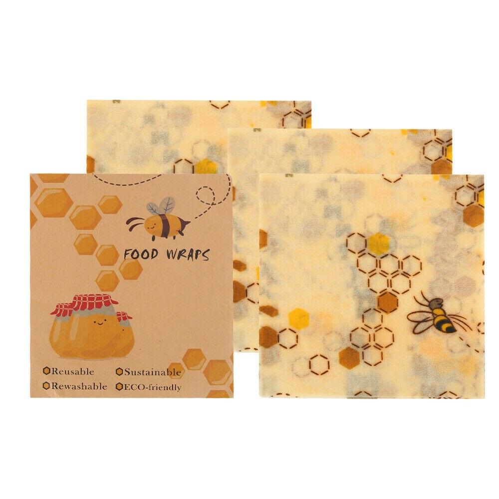 Reutilizable Natural cera de abejas reutilizable Eco No más plástico cera de abeja tela bolsa de almacenamiento de frutas envolturas de alimentos