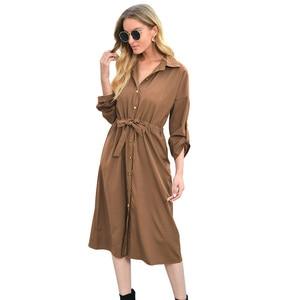 Female Turn Down Collar Dress Long Sleeve Bandage Button Women Shirt Dress Elegant Temperament Office Ladies Dresses