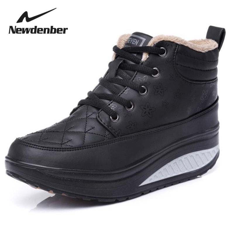 Women Boots Winter Lace Up Sneakers Thicksoled Leisure Travel Boots Solid Color Round Head Slip Wome