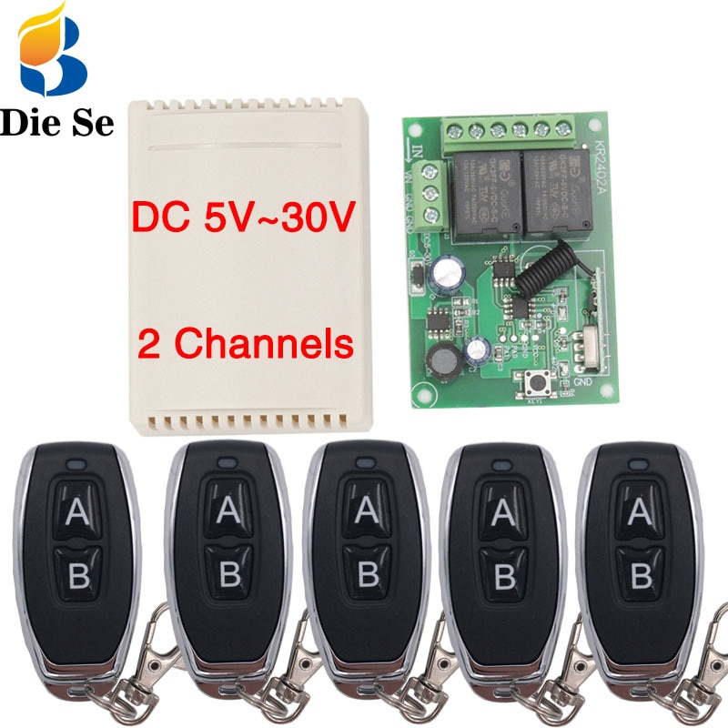 110v220v 12ch rf wireless remote control switch system 2 transmitters and 12 receiver for garage door rf 433mhz 315mhz sku 5451 433Mhz RF Remote Control Circuit Universal Wireless Switch DC 5V 12V 24V 2CH rf Relay Receiver and Keyfob Transmitter for Garage