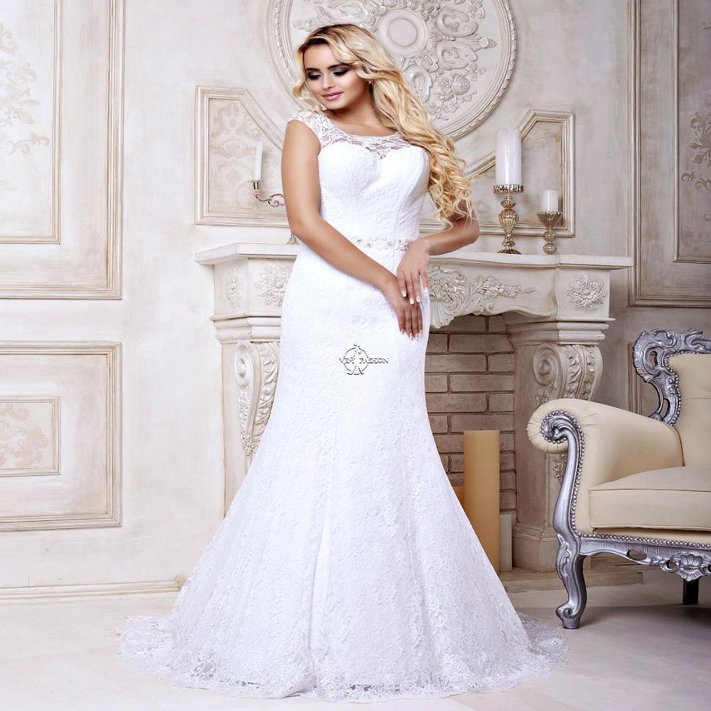 Sexy Mermaid Lace Wedding-Dresses White Ivory Beautiful Fishtail Bridal Gown Vestido De Noiva