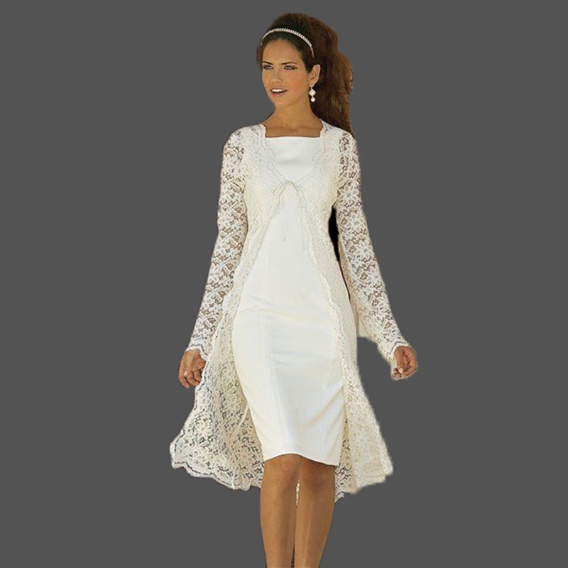 Charming Holy Two Pieces Mother Of The Bride Dresses with Long Sleeve Lace Jacket Mothers Dresses For Wedding Party Knee Length