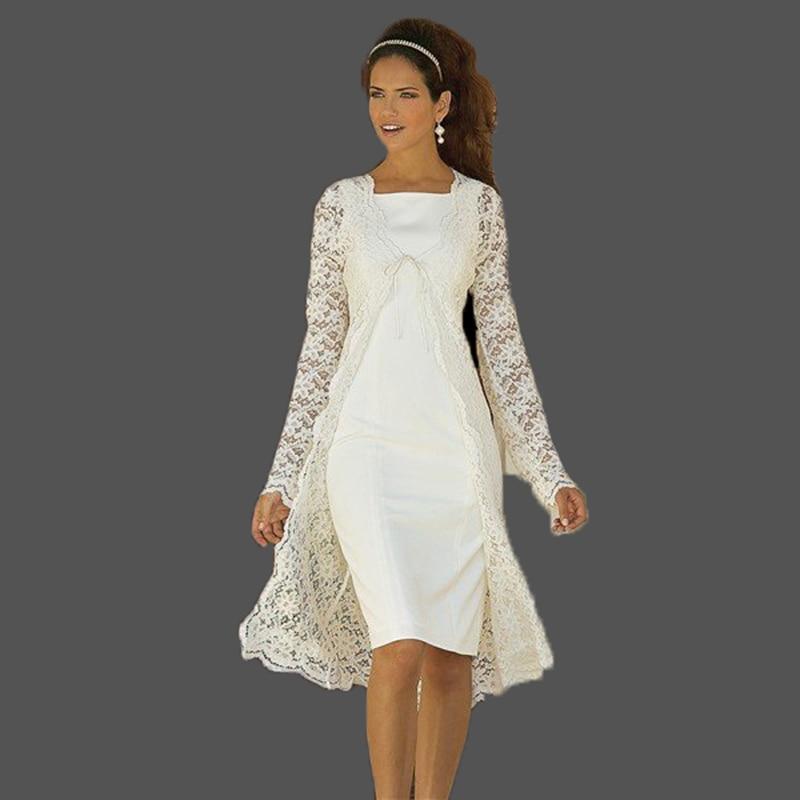 فساتين أم العروس من قطعتين ، أكمام طويلة ، جاكيت دانتيل ، فساتين حفلات الزفاف ، طول الركبة