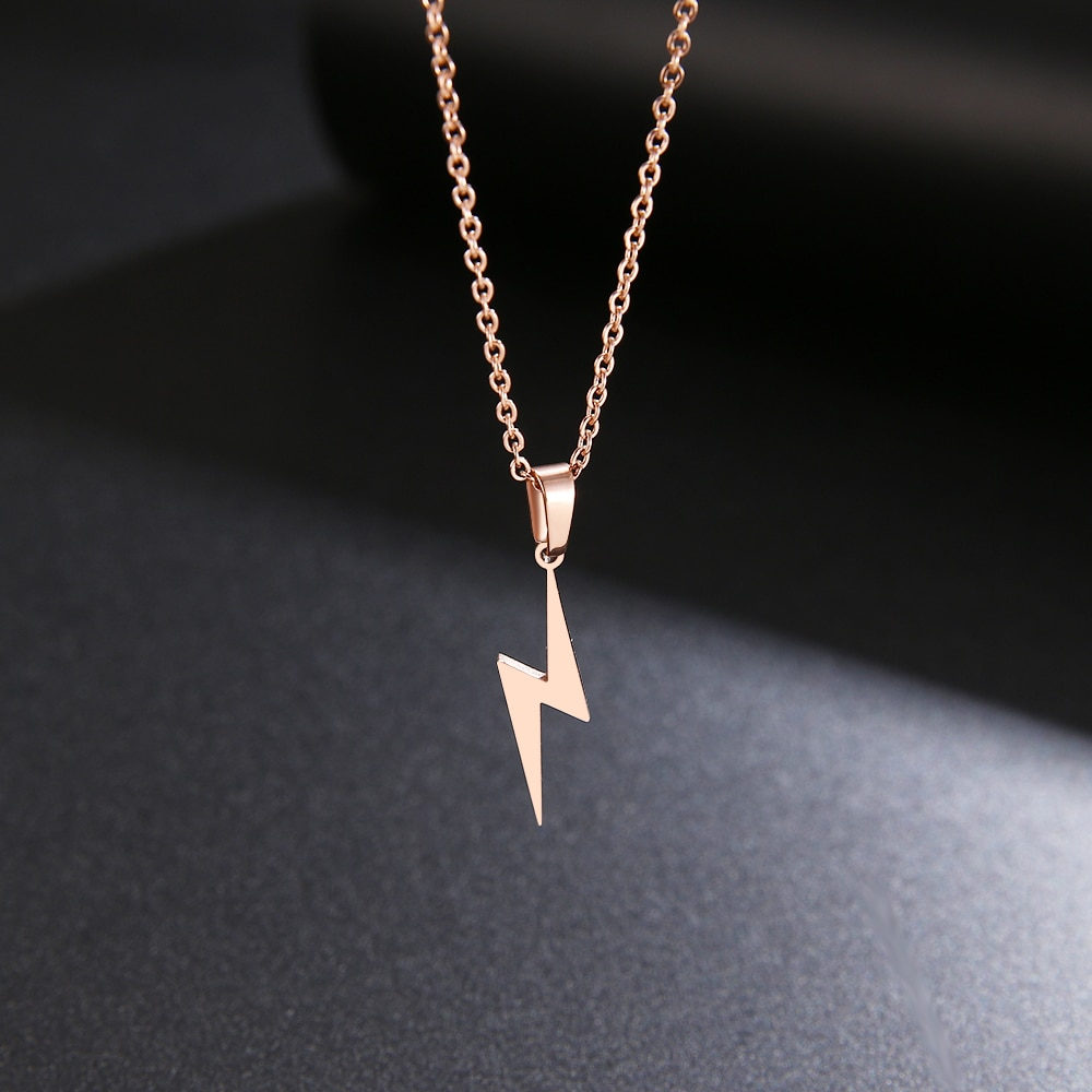 DOTIFI Stainless Steel Necklace Hot Lightning Necklaces For Women Protection Pendants For Girlfriend Gifts Rose Gold Jewelry