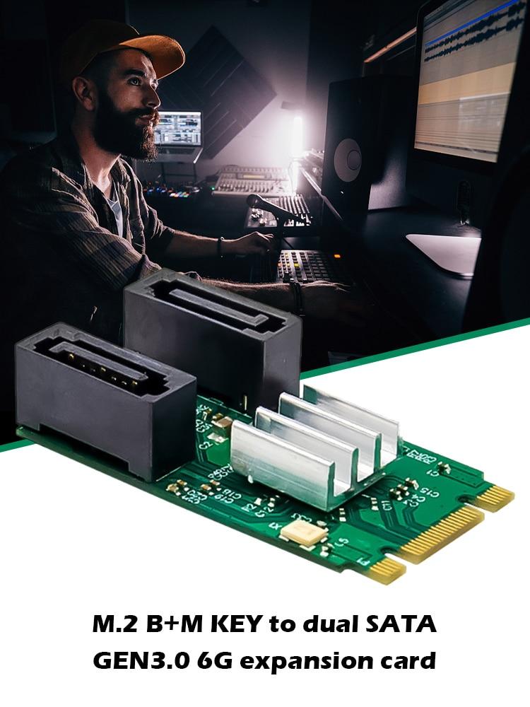 ST551 M.2 B + M مفتاح إلى اثنين من الموانئ SATA GEN3.0 6G بطاقة التوسع PCIe ASM1061 رقاقة بنيت في القرص الناهض بطاقة لسطح المكتب