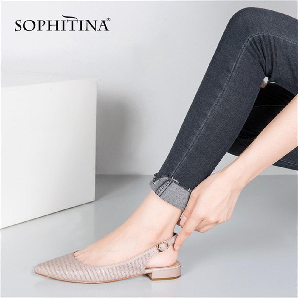 SOPHITINA/Женская обувь на плоской подошве из овечьей кожи в мелкую клетку; Пикантные туфли из натуральной кожи с острым носком на плоской подошве; Офисные женские прогулочные туфли; P64