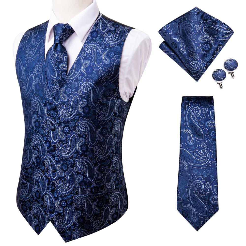 Hi-Tie 20 Color Silk Men's Vests and Tie Business Formal Dresses Slim Vest 4PC Hanky cufflinks for Suit Blue Paisley Waistcoat