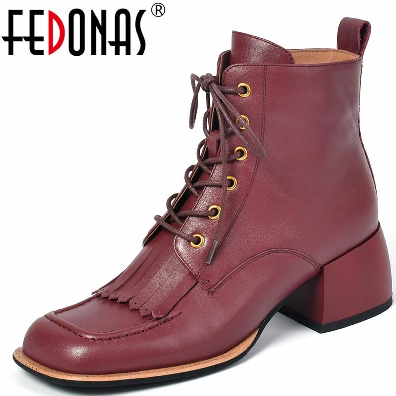 FEDONAS خمر هامش عبر تعادل النساء حذاء من الجلد جلد طبيعي ساحة تو الكعوب السميكة مكتب سيدة أحذية امرأة الخريف الشتاء