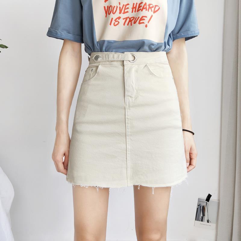 Saia de verão novo estiramento denim saia curta a linha saia feminina anti-reflexo calças saia alta cintura saco saia hip era saia fina