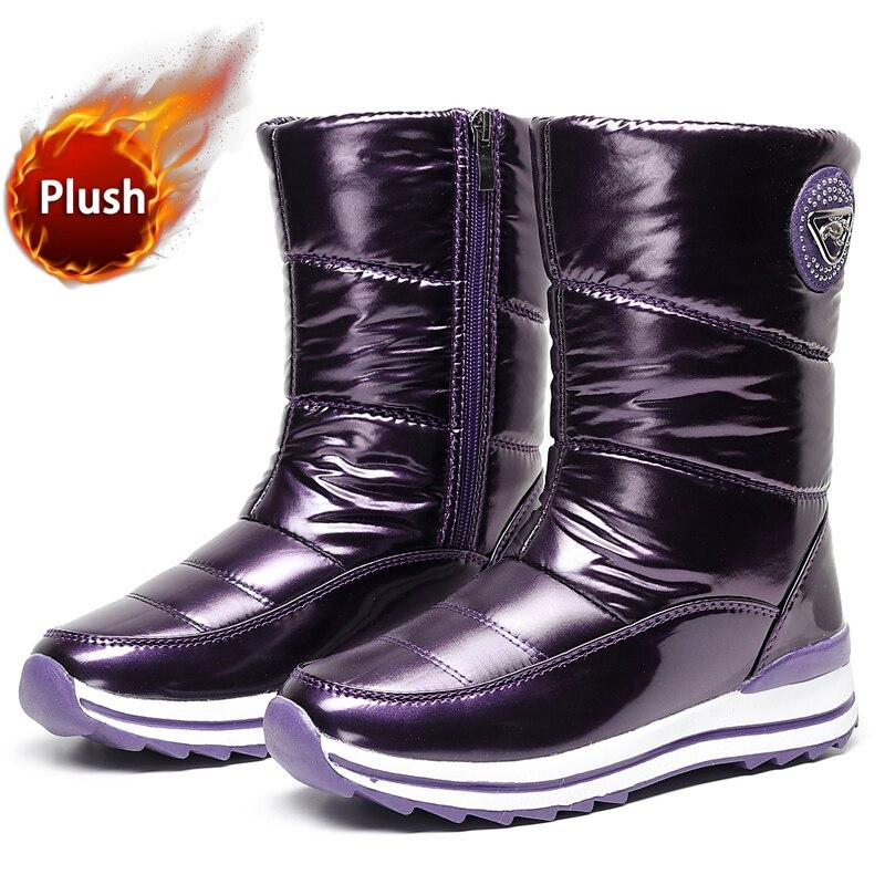 Зимние женские теплые сапоги для снежной погоды, плоская Водонепроницаемая зимняя обувь на толстом меху 2021, женские нескользящие сапоги