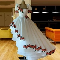 vintage lace a line prom dresses 3d flower appliques short sleeves evening gowns pleats tiered high low formal party dress 2022