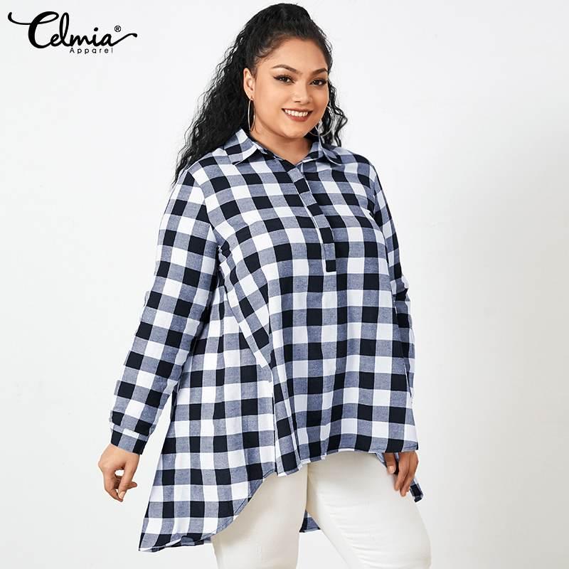 2021 Lapel Plaid Long Shirts Autumn Vintage Blouses Celmia Women Asymmetrical Casual Loose Long Sleeve Tunic Tops Plus Size 5XL