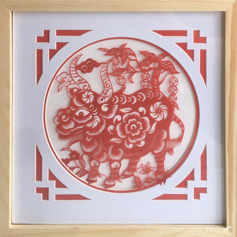 Pintura con marco de madera 30 × 30cm Flores y Animales Fotos papel corte ARTE Sala decoración hogar Decoración de pared arte