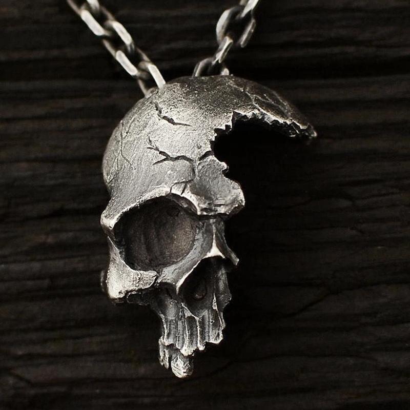 Nuevo medio de la cabeza del cráneo collar con colgante gótico punk Retro declaración colgante de los hombres y las mujeres de la calle estilo marea de oro de la joyería de plata negro