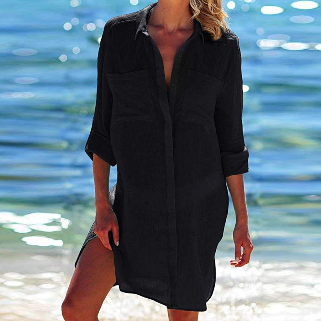 2019 de las mujeres de playa botón bolsillo camisas biquini protector solar traje blusa майка женская mujeres haut femme