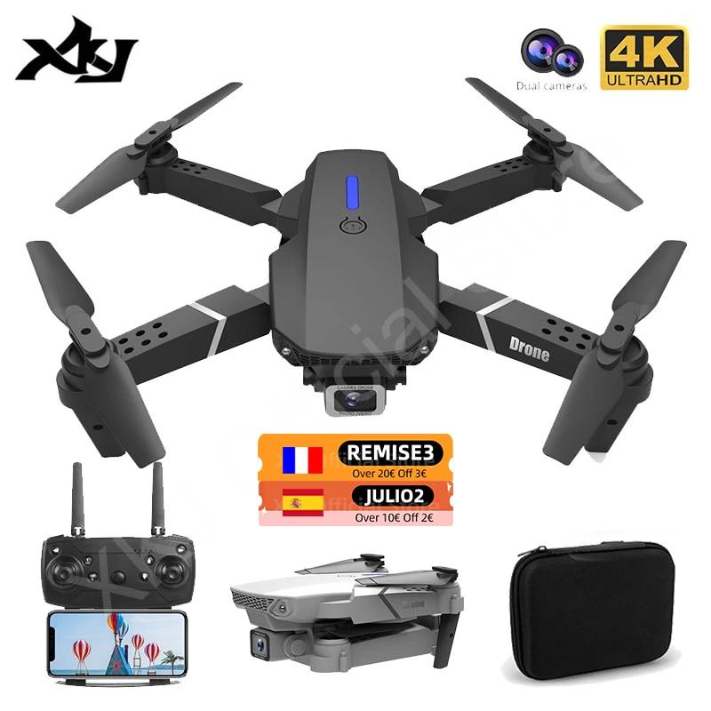 طائرة بدون طيار XKJ 2021 جديد E88 Pro بزاوية واسعة HD 4K 1080P كاميرا مزدوجة ارتفاع عقد واي فاي RC قابلة للطي طائرة رباعية لعبة هدية درون