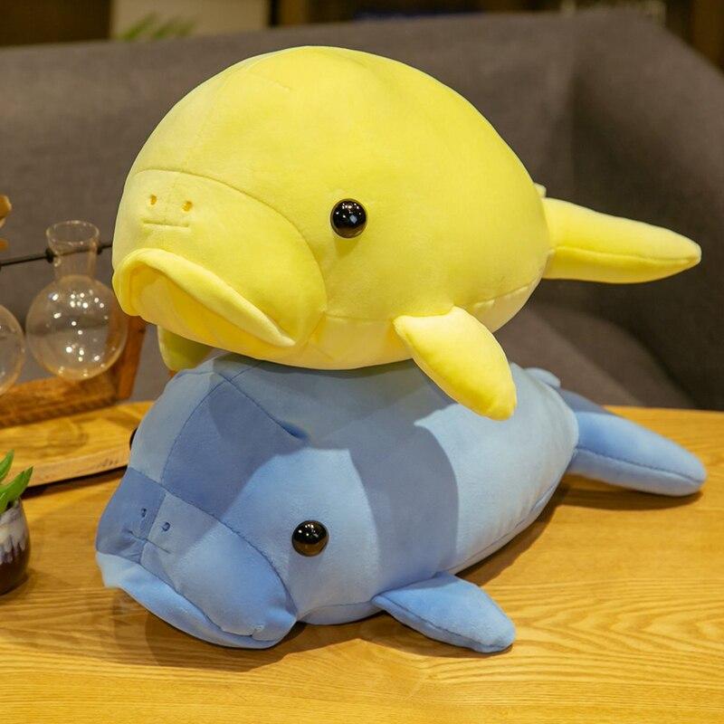 40/50cm novo peixe-boi aquático recheado boneca amarelo/azul pelúcia pulverização água tímido gado brinquedo fofinho crianças meninos meninas presente plushie