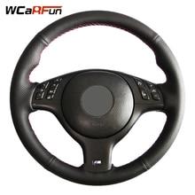 WCaRFun couverture de volant de voiture en cuir artificiel   Cousu à la main, noir, pour BMW E46 M3 E39 330i 540i 525i 530i 330Ci 2001-2003