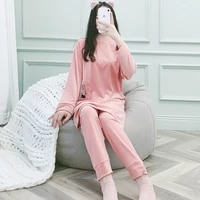 new pyjamas women autumn and winter warm velvet cute japanese warm home clothes two piece set long can be worn outside