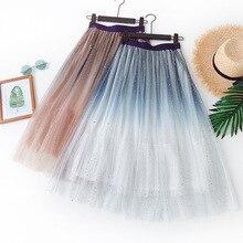 Dégradé jupes 2020 nouveau été galaxie étoile Tutu jupe paillettes brillant maille jupe doux frais Chic taille haute plissée Tulle jupe