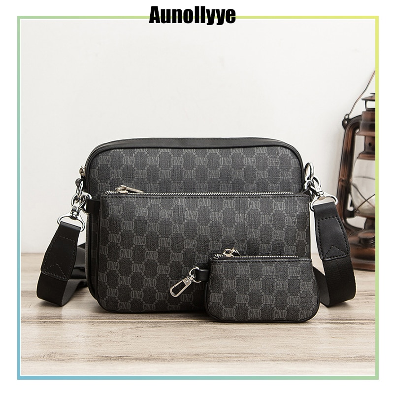 Men'S Luxury Messenger Bag Handbags And Purses Three-Piece Plaid Leather Sling Shoulder Crossbody For Male 2021 Small Square Bag