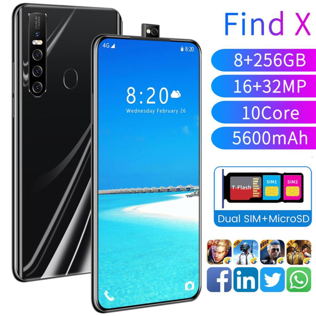 2021 Latest Telescopic Camera Smart Phone Find X 16GB RAM 512GB ROM Smartphone HD+ Screen Dual Sim Mobile Phone Android