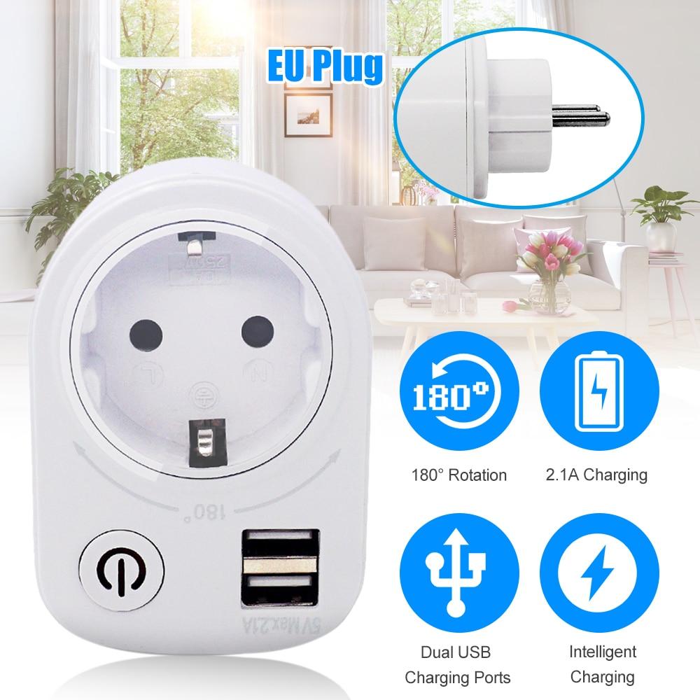 5V 2.1A eléctrico Adaptador Dual de cargador USB inteligente enchufe-enchufe de pared de carga interruptor de potencia de salida de viajes de casa