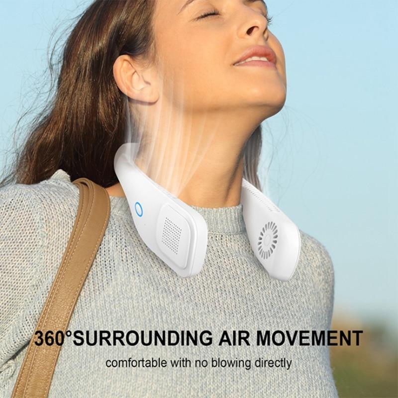 مروحة محمولة صغيرة للرقبة مزودة بمنفذ USB مع بطارية مكيف هواء فائق الهدوء بدون أوراق معلق برقبة مروحة للرقبة بزاوية 360 درجة