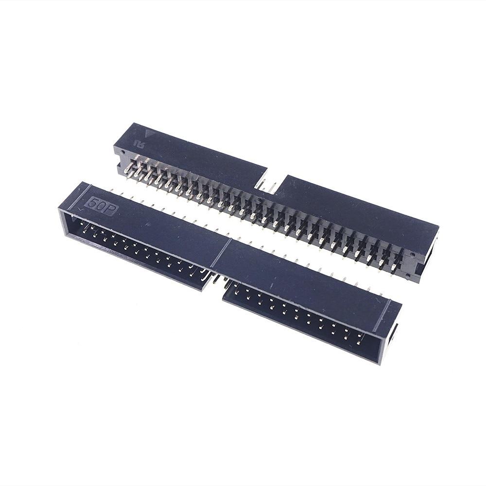 250 قطعة رأس صندوق مظلل IDC المقبس 2.54 مللي متر 2x25 دبوس 50 P مستقيم الذكور مربع دبوس 0.64 مللي متر 2 صفوف 2.54 خلال حفرة DIP