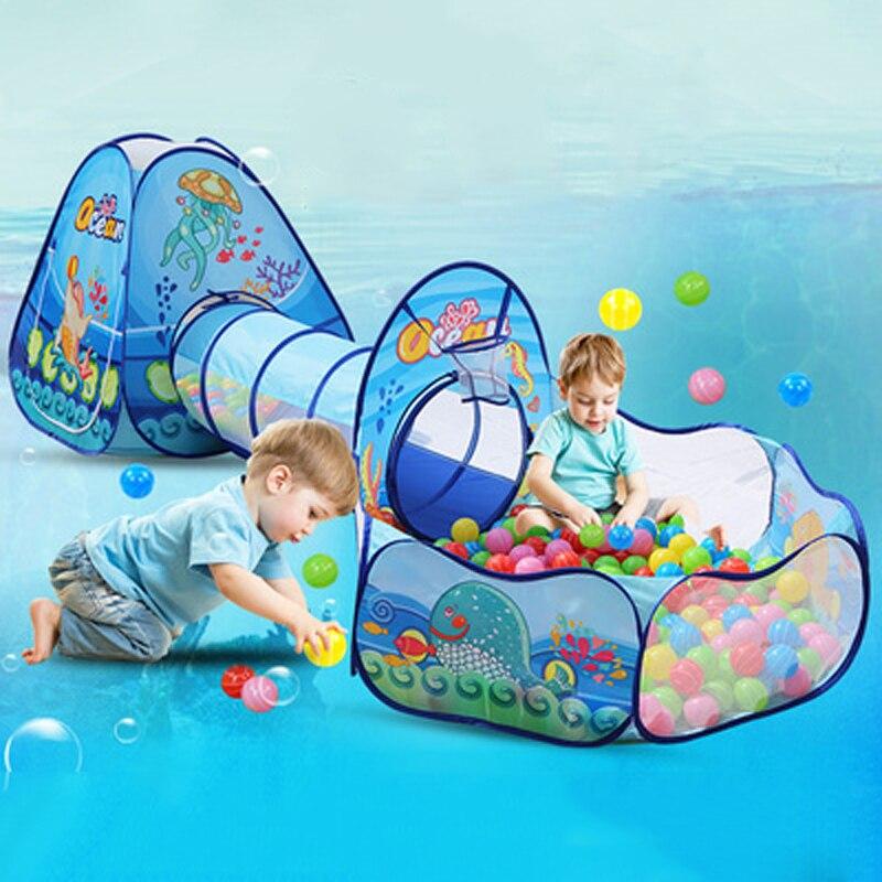 3Pcs/Set Children's Tent Portable Kids Tents WigwamChildren Ball Pool Ball Pit Crawling Tunnel Baby Play House FoldingTipi
