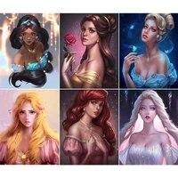 Disney Pleine Foret Rond Diamant Peinture Dessin Anime Princesse Serie 5D Bricolage Diamant Broderie Strass Mosaique Decoration De La Maison