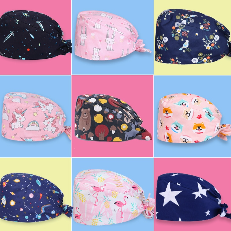 Clearance Pattern Scrub Cap Tie Back Working Hat 100% Cotton Washable Sweatband Beautician Dust Proof Scrub Caps
