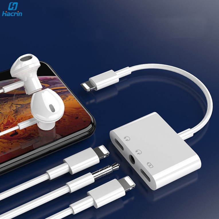 Para Rayo a 3,5mm para auriculares Jack adaptador Dual Lightning Audio conector de carga del divisor de Cable para Apple iPad iPhone 11 Pro