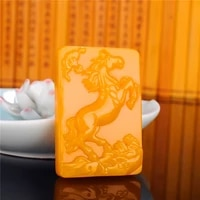 natural yellow jade horse pendant necklace chinese carved charm jewellery accessories fashion amulet for men women lucky gifts