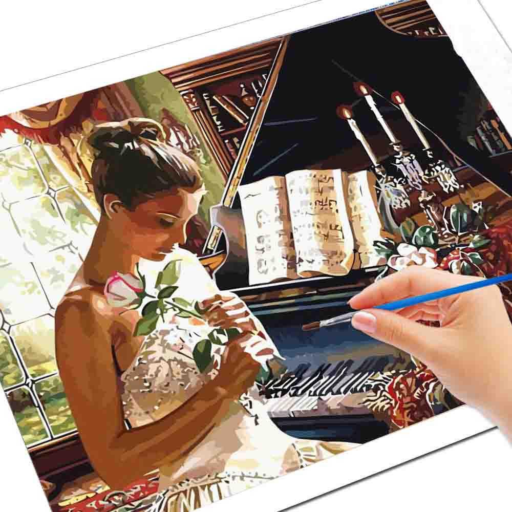 Huacan Pintura Por Números A Mano De Chica Dibujo De Piano Sobre Lienzo Regalo De Arte Fotos Artesanales Por Números Kits De Decoración Del Hogar Pintura Por Números Aliexpress