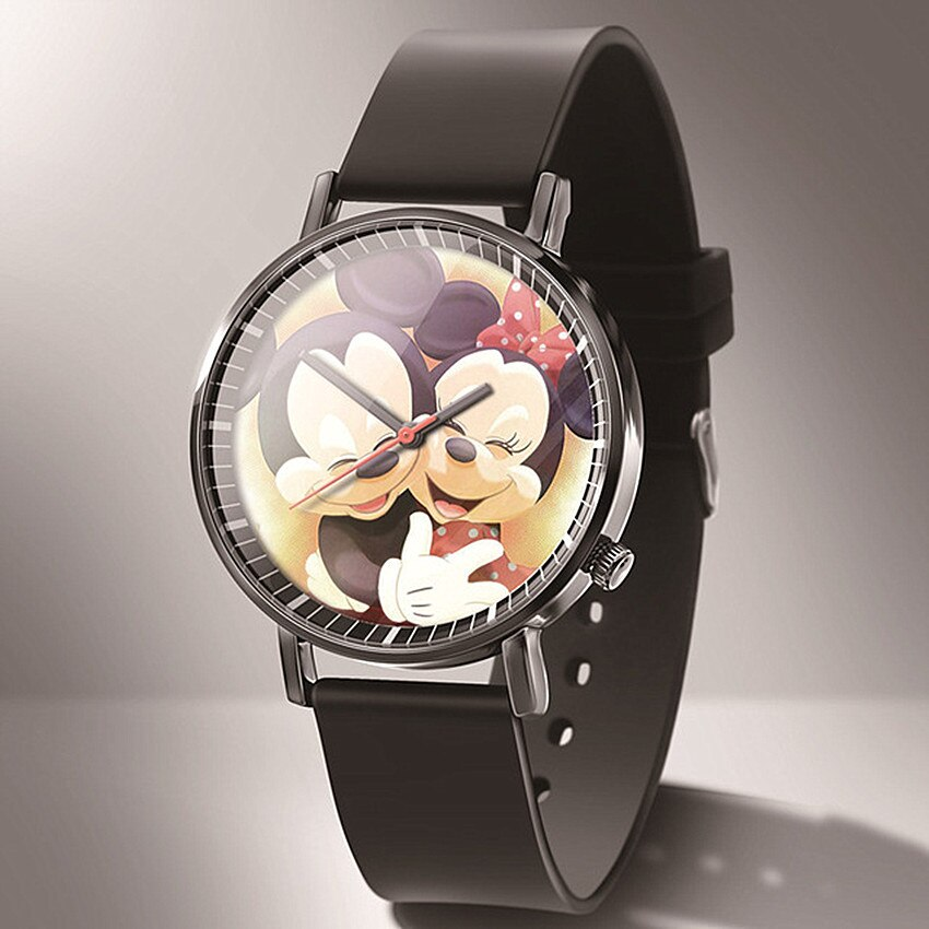 Relogio feminino New top luxury brand Women watch cartoon Mickey quartz Watches Women Reloj mujer Black Leather watch Montres