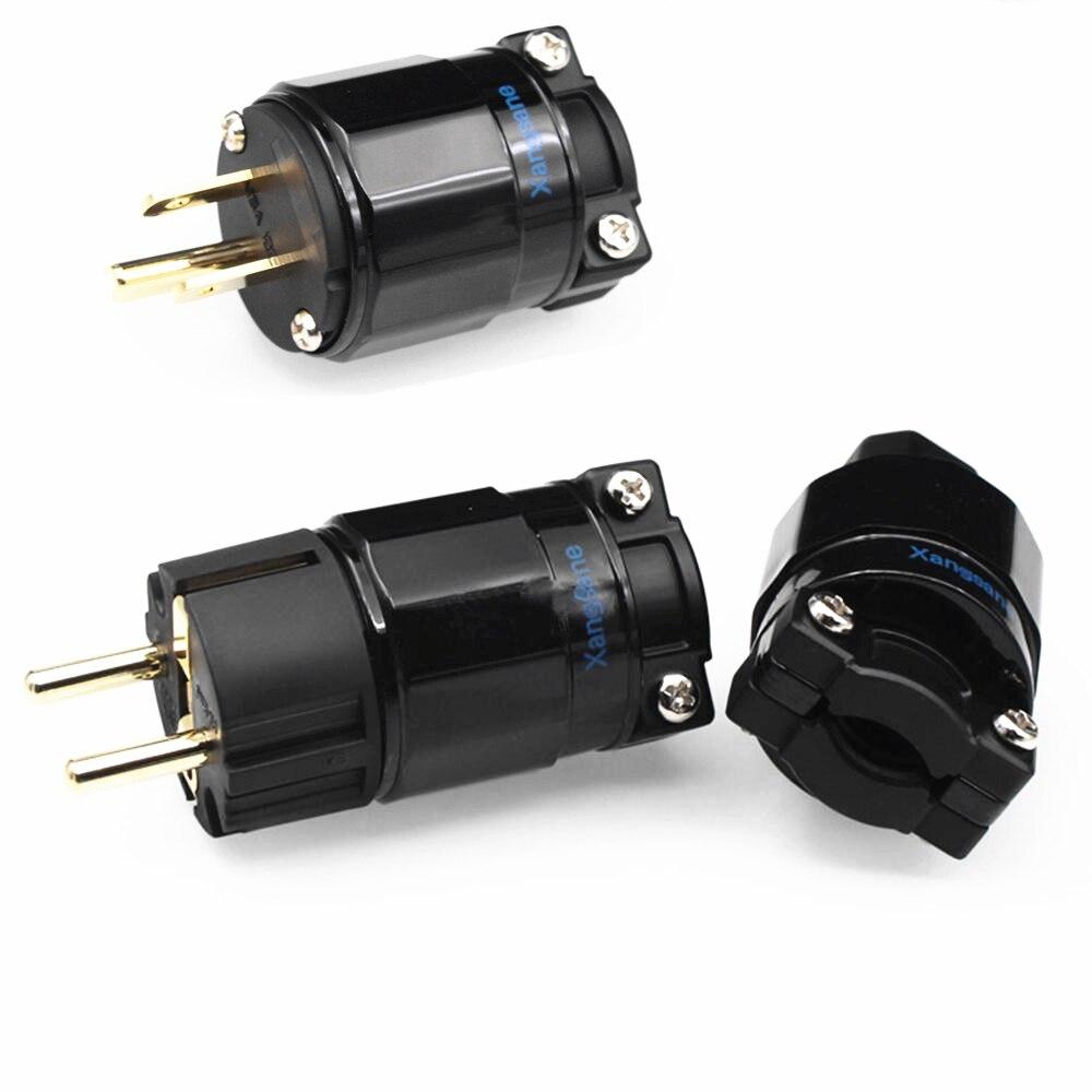 Adaptador de Audio HIFI chapado en oro US / EU enchufe de alimentación y conector IEC para amplificador de Cable de alimentación DIY 250V 15A