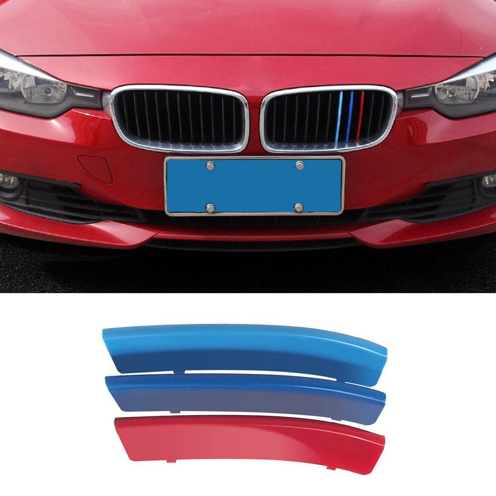 3 uds para BMW E90 E91 E92 E93 E46 M3 325i 328i xDrive 3 serie 11 parrillas 2013-2019 deporte parrilla frontal etiqueta Trim E90 Accesorios