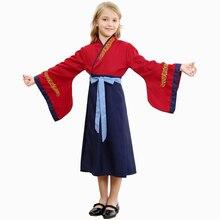 Mulan Costume Cosplay enfants filles héroïne princesse habiller déguisement dhalloween pour enfants carnaval Performance fête vêtements