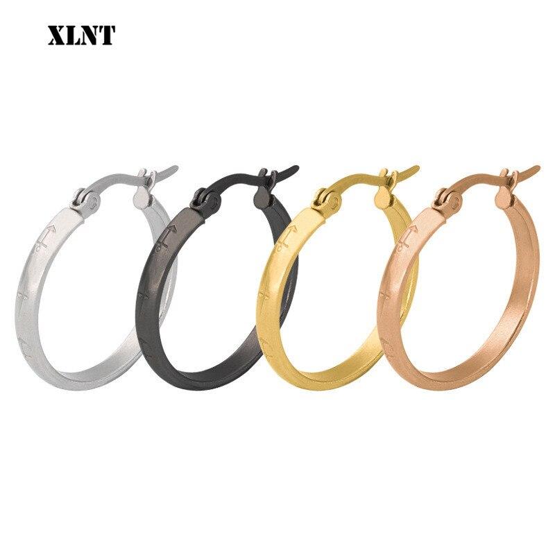 Xlnt 1 par pequenos brincos de argola de prata círculo de aço inoxidável hoop brinco para mulheres homens anel de orelha clipe huggie brincos