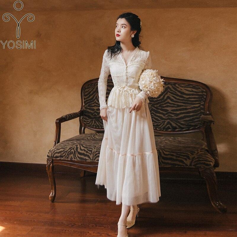 YOSIMI 2 قطعة ملابس النساء البيج الدانتيل النساء فستان 2021 الصيف الخامس الرقبة كامل كم قميص أعلى و شبكة طويلة تنورة 2 قطعة مجموعة