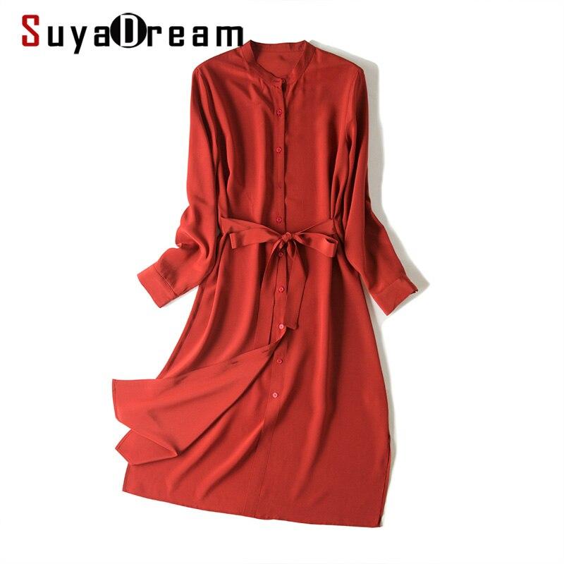 SuyaDream Women Belted Dress 100%Silk Crepe Long Sleeved Stand Collar Knee Length Solid Silk Dresses 2020