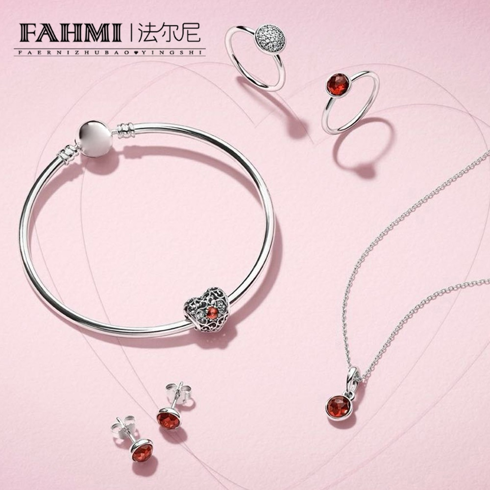 2020 100% 925 Sterling Silver JANUARY SIGNATURE HEART BIRTHSTONE CHARM DROPLET PENDANT Earring Studs RING  Bangle Necklace Set