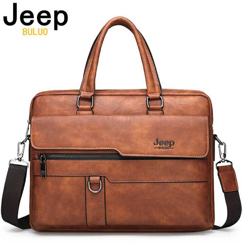 JEEP BULUO Brand Man Business Briefcase Bag Split Leather High Quality Men office Bags For 14 inch L