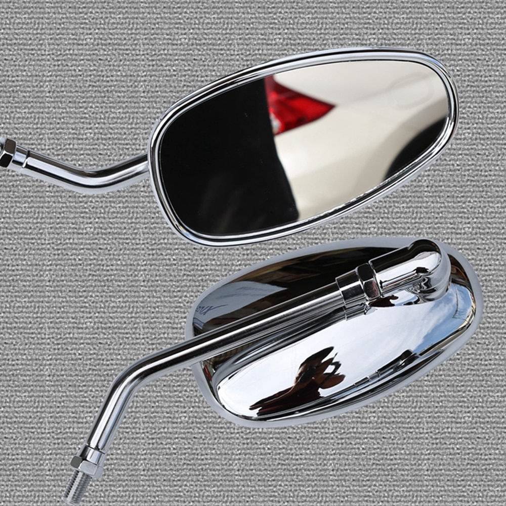 Espejos retrovisores de motocicleta universales de 10mm, espejo retrovisor cromado lateral para YAMAHA Vmax Virago 535 v-star 650 1100 1300 Warrior